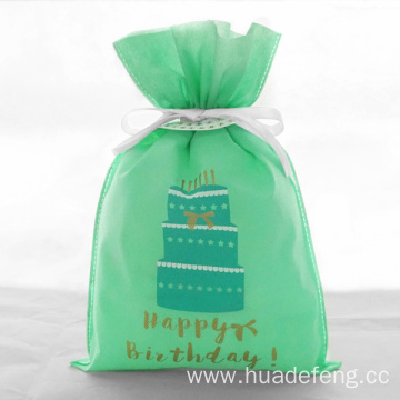 Non Woven Green Cake Happy Birthday Bags